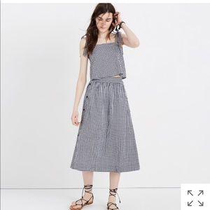 Madewell Gingham Midi Skirt